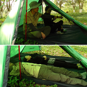 Image 4 - A Peak Ultra light Rodless Tent 1 2 Person for Camping Hiking Trekking Backpacking Waterproof 20D Tent Solo Single Bivvy Tent