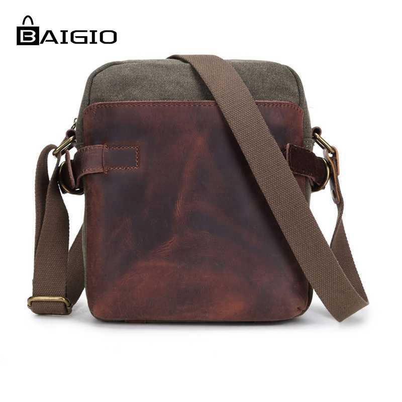 ФОТО Baigio Men Leather Canvas Small Briefcase Bag Stylish Men Crossbody Designer Shoulder Bags Man Clutch Messenger Bag Male