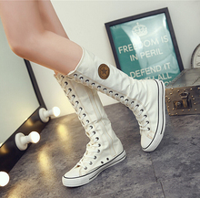 Spring and Autumn 2017 New Brand Women Fashion Casual Shoes Tall Canister New High Help Leisure Large Base Canvas Shoe