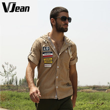 V Jean Men's Aviator Short Sleeve Western Jean Shirt Hooded #2A271