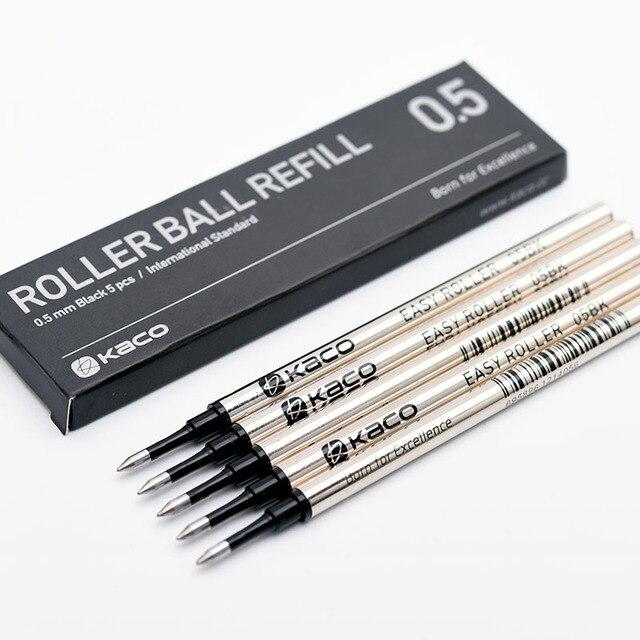 5 pièces/boîte internationale Standard Kaco Rollerball recharge métal tige encre noire 0.5mm signe stylos recharges fournitures de bureau scolaire