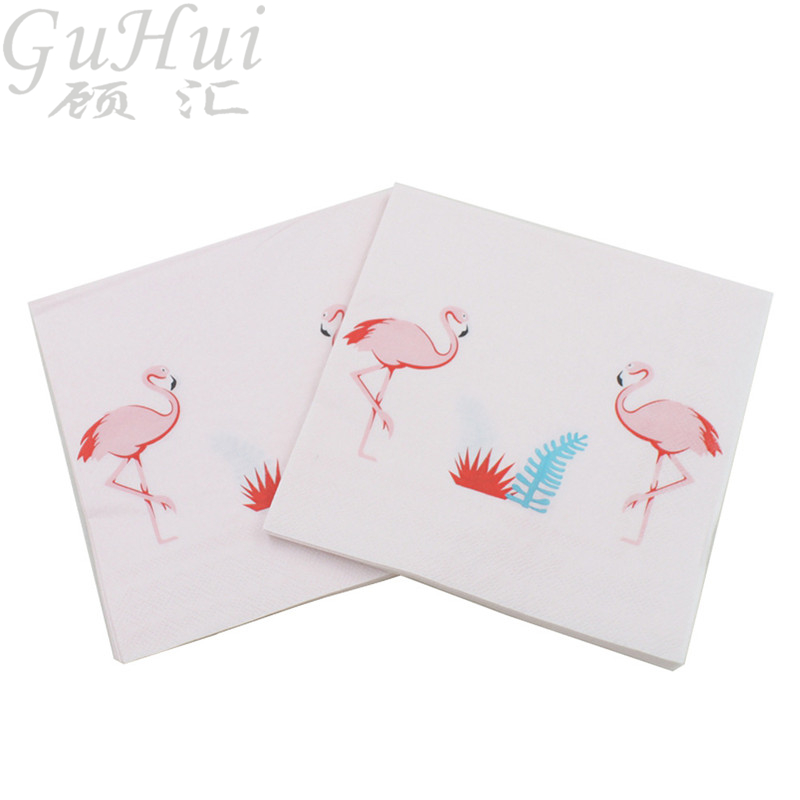100Pcs Flamingo Theme Table Printing Tissue Disposable Paper Napkin Dinner Table Tea Coffee Restaurant Plates Wedding Decoration