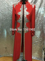 Большие размеры на заказ Красные кристаллы мужские ds диджей певец Танцевальное представление длинный Стиль Верхняя одежда горный хрусталь