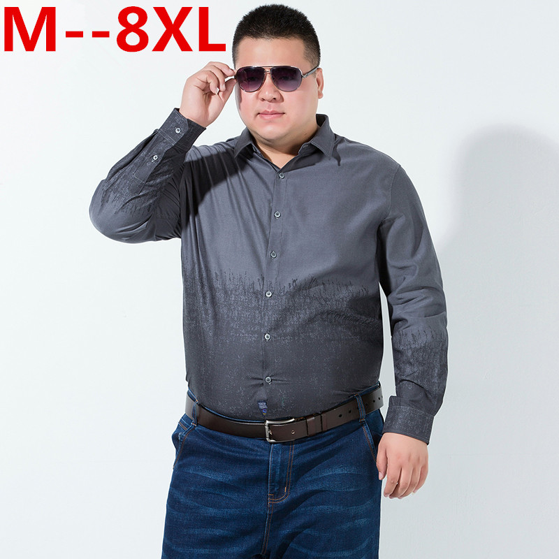 Plus size 8XL Long Sleeve Solid Men Dress Shirts Large 7XL 6XL gray blue Social Shirts China Imported Men Clothing big size