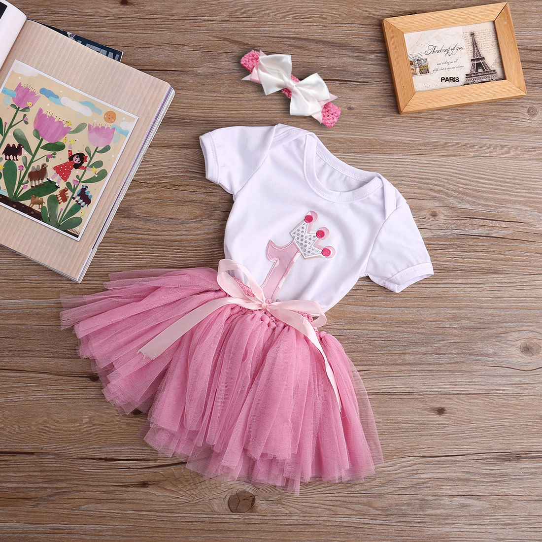 3PCS Newborn Baby Girl 1st Crown Romper Bodysuit Headband Birthday Tutu Skirt Outfit Hot Sale