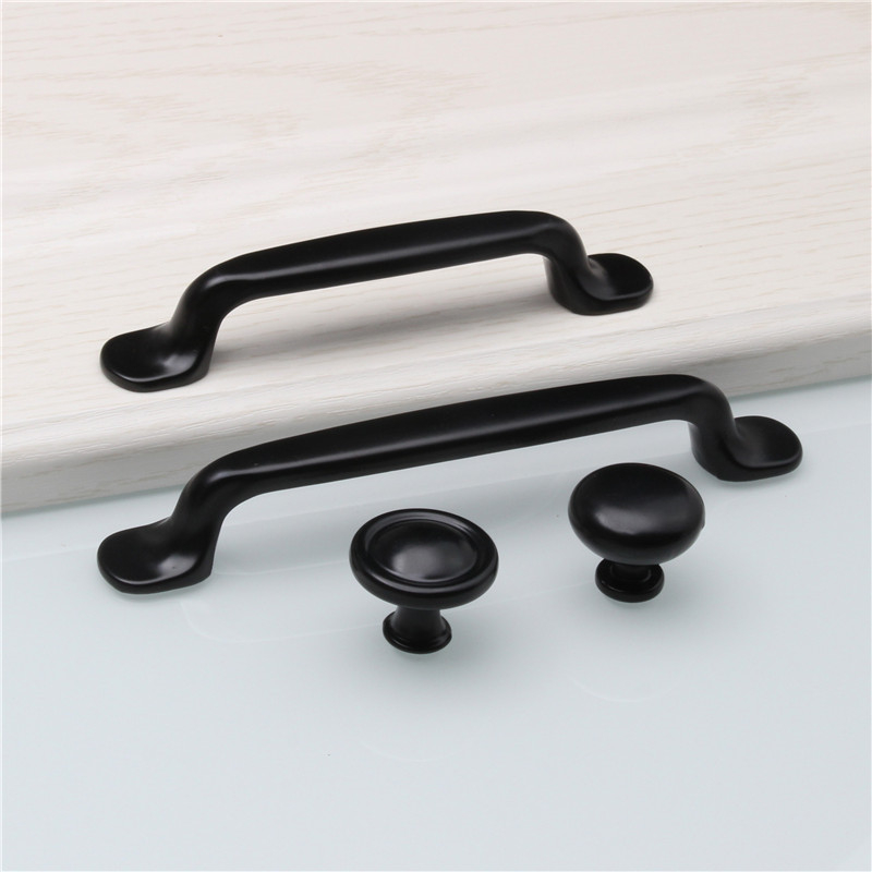 Durable Aluminum Alloy Black Door Handle For Furniture Drawer Kitchen Cupboard Cabinet Drawer Pull Knobs Single Hole/96/128mm cabinet handle kitchen cupboard closet furniture drawer pull knob 64 128mm 828 promotion