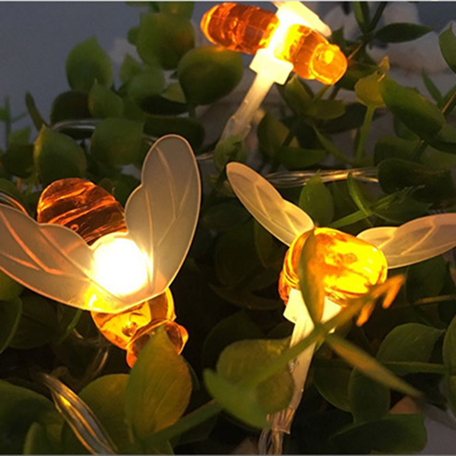 HANMIAO 20 LED String Lights  Battery Operated Bee Shaped LED Garland Lights Lawn Fence Patio Tree Flower Garden Decoration 36  HANMIAO 20 LED String Lights  Battery Operated Bee Shaped LED Garland Lights Lawn Fence Patio Tree Flower Garden Decoration 36