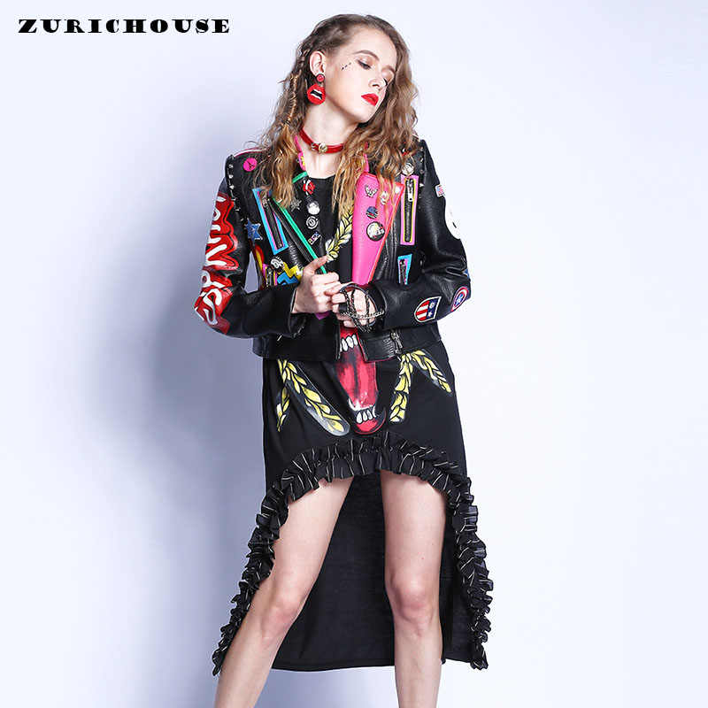 Fashion Streetwear Rivet Graffiti Leather Jacket Women 2019 New Spring Women's Faux Leather Motorcycle PU Jackets And Coats