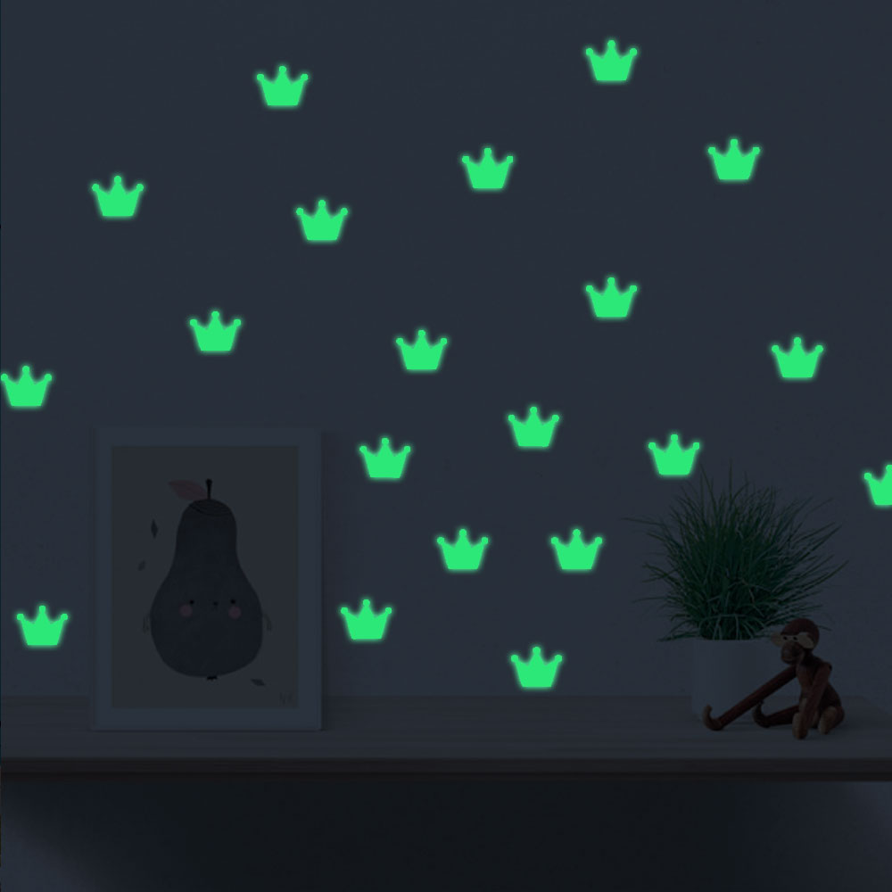 Free Shipping Glow In The Dark Noctilucous Wall Stickers Eco-friendly Nordic style Shining Crown For Kid`s Room And Livingroom