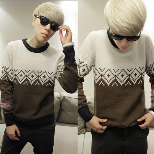 Пуловеры полный хлопок плоская трикотажная тонкий Polo подросток свитер приливные текущий вилочная часть зима с круглым вырезом Maoyi