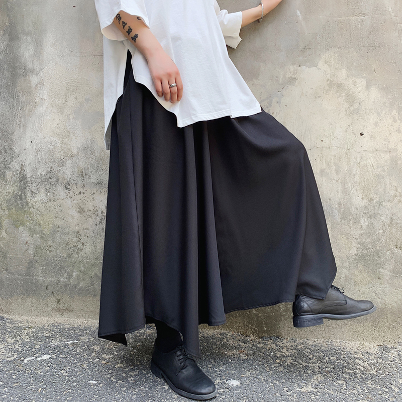Men Japan Style Irregular Design Wide Leg Skirts Pants Male Women Streetwear Hip Hop Punk Gothic Harem Trousers Kimono Pants