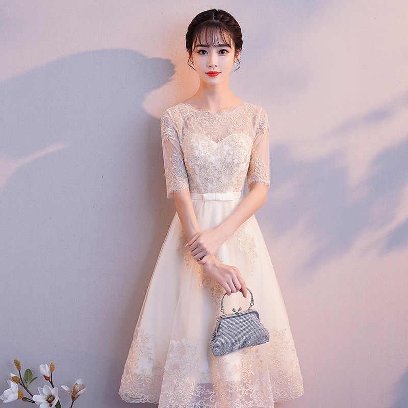 Zarif Yaz yarım Kollu Bayan Abiye Elbise Seksi Ince Düğün Gelinlik modelleri Vestidos Boyutu S-3XL