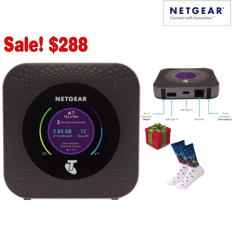 US $259 2 10% OFF Unlocked Netgear Nighthawk M1 MR1100 LTE CAT16 4GX  Gigabit Mobile Router Modem with free Christams Socks-in Modems from  Computer &