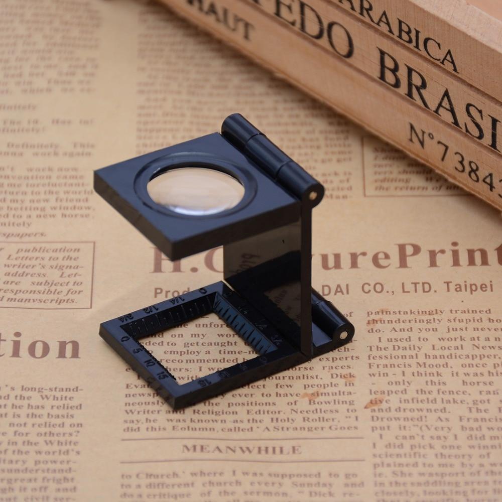 1 Piece 22MM 8X Folding Linen Tester Mini Pocket Metal Magnifiers Cloth Thread Counter Magnifier Magnifying Glass 8x folding magnifier with scale