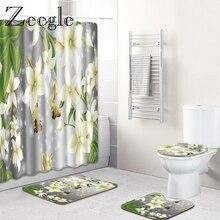 Zeegle Waterproof Shower Curtain with Hooks Bath Mat Set Absorbent Bathroom Cover Toilet Seat Mat Bathroom Floor Rugs