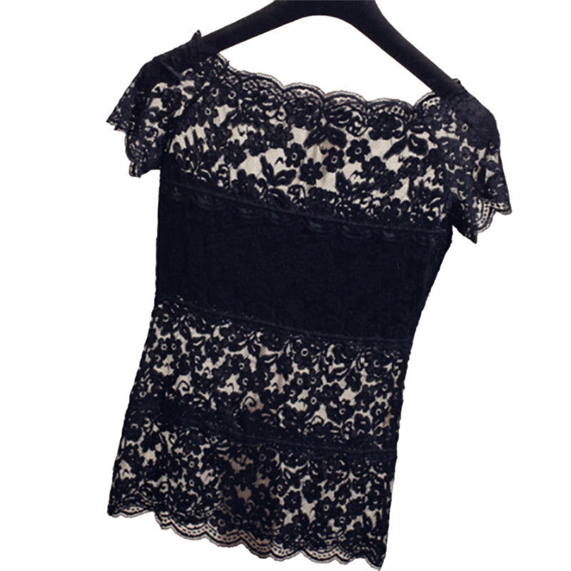 Women Lace Hollow-out Vest Sexy Camisoles Pierced Blouse Clothing Short Sleeve T Shirt Blusa Feminina Women Tops