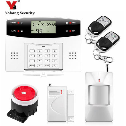 YoBang Security Wireless GSM Home Alarm System English Russian French Spanish Cezch Door PIR Detector + Wireless Metal Remote. yobang security metal remote control wireless line gsm home safety system lcd display door sensor wire alarm detector pir alarm