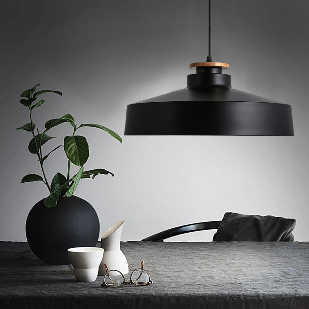 Modern pendant light wood light aluminium lampshade nordic for Luminaire suspension moderne
