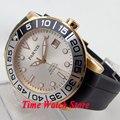Parnis 42 мм белый циферблат светящийся сапфировое стекло Золотой корпус 10ATM 21 jewels MIYOTA автоматические мужские часы 601