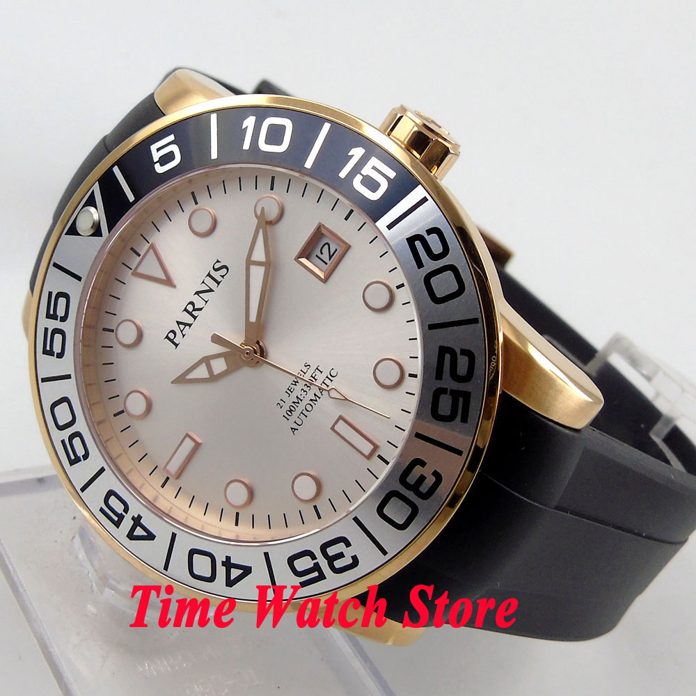 Parnis 42mm white dial luminous sapphire glass golden case 10ATM 21 jewels MIYOTA Automatic mens watch 601 42mm parnis withe dial sapphire glass miyota 9100 automatic mens watch 666b