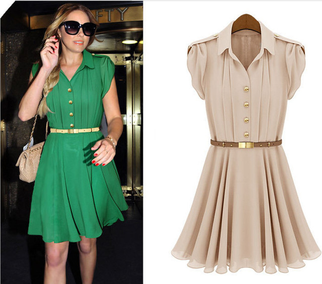 Hot Selling 2014 Summer New Ruffled Dress Lapel Single-Breasted Dress European Pleated Chiffon Dress Women With Belt As Gift FSF
