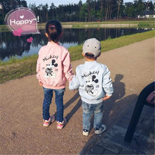 Real Shot Mickey Jacket Clothing For Baby Girls Boys Coat Cartoon Printed Flight Spring Kids Outerwear Children Clothes