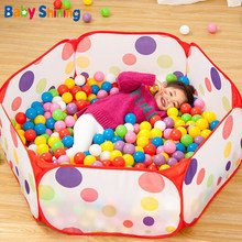 Baby Shining Folding Ball Pool With 50PCS Ocean Balls Large Capacity Playpen Ball Pits Baby Play House Fence Game Pools(China)