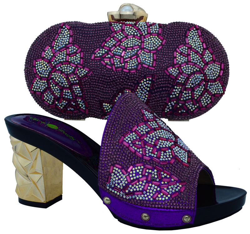 2016 Novelty Embellished Round Toe Italian Shoes And Matching Bags In Purple Color High Heel Shoes
