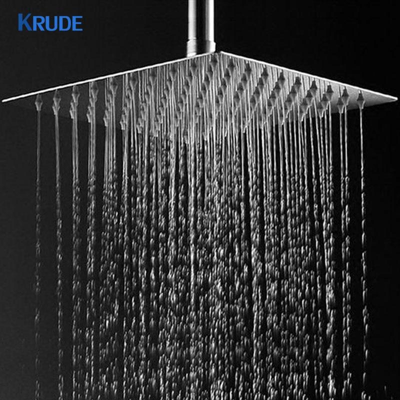 Aluminum Bathroom Square Rainfall Top Shower Head Overhead Spray Adjustable Water Volume, Removable Square Shower Head White ...