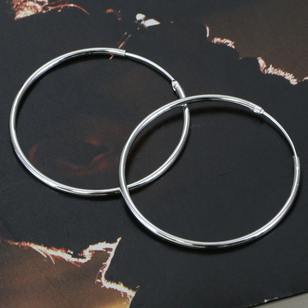 E042 Wholesale Silver plated earrings, silver fashion jewelry, Smooth Round Earr