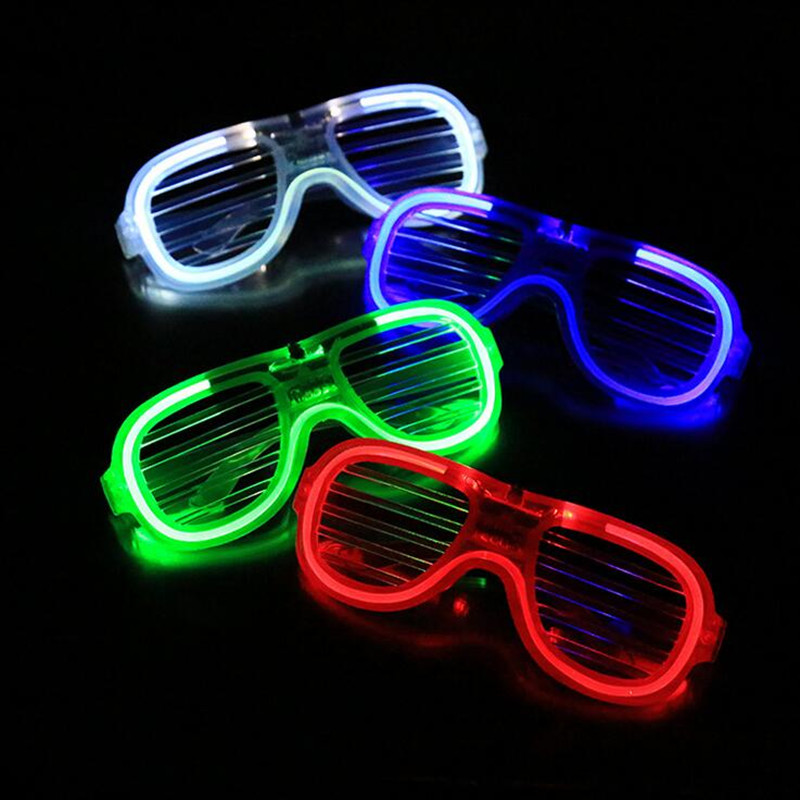 820a1aa52 2018 Persianas Persianas Óculos de LED Piscando Óculos Olho Bar Brinquedos  Brilho Máscara de Olho Do Partido Decoração Do Casamento