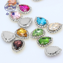 Metel Claw Flatback Rhinestones For Clothing Colorful Glass Decorative Stones WaterDrop Crystal With S142