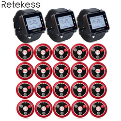 T117 20 Call Transmitter Button+3 Watch Receiver Wireless Calling System Waiter Call Pager Restaurant Equipment Customer Service