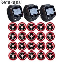 T117 20 Call Transmitter Button+3 Watch Receiver Wireless Calling System Waiter Call Pager Restaurant Equipment Customer Service