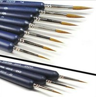 9pcs/set pointed head paint brushes weasel's hair for oil acrylic shading gouache watercolor painting artist school