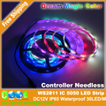 Controller Needless WS2811 Dream Magic Color 5050 LED Strip, DC12V 60LED/m IP65 Waterproof  RGB Full Color and White.
