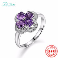 I Zuan S925 Silver Natural 2 35ct Amethyst Purple Flower Prong Setting Elegant Top Quality Ring