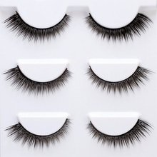 3 Pairs Handmade Natural False Eyelashes High Grade Eye-tailed Style Eye Lash Man-made Fiber Material Sharpening Fake