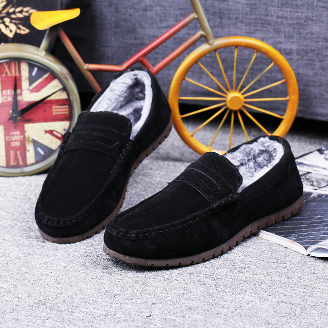 Popular Trend Winter Men Shoes Casual Cotton-Padded Warm Loafers For Men Round Toe Non-Slip Slip On Flats Comfort Driving Shoes