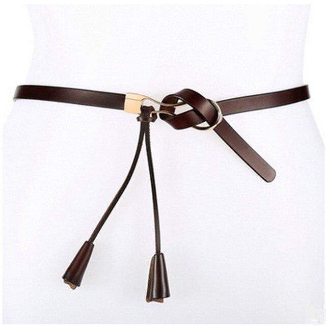 New Arrival Women's Fashion Girls Knot Belts Brand Genuine Leather Famale Straps for Women Dress Sweat Luxury Belt 1