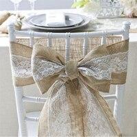 6pcs/lot Burlap Lace Hessian Natural Naturally Elegant Burlap Chair Sashes Jute Chair Tie Bow for Rustic Wedding decoration