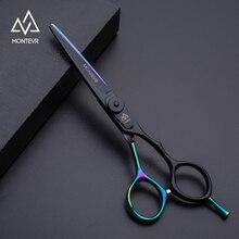 """Montevr japanese steel 5.5""""/6.0"""" professional hair scissors salon barber scissors rainbow coated hairdressing scissors"""