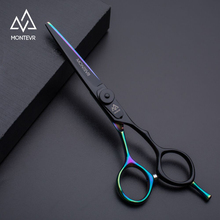 "Montevr japanischen stahl 5.5 ""/6.0"" professional hair schere salon barber schere regenbogen beschichtet friseur schere"
