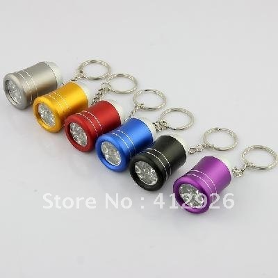 free shipping!!!Fashion Alloy Metal  Mini 6-LED White Light Flashlight Keychain - Random Color 20pcs/lot 901743-CP-LYC-001A