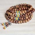Ubeauty 8mm  108 natural rosewood  beads Tibetan Buddhist mala prayer  Meditation bracelet  with turquoise spacer beads