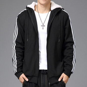 Free shipping plus size L-5XL 6XL Men's lamb wool Sweatshirts winter thermal velvet hoodie sweatshirt coat military Striped