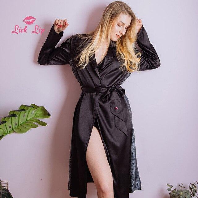 69b3e0908 Lamber Lábio Mulheres Roupão Preto Primavera Lado Rendas Patchwork Cinto  Sleepwear Nightwear Kimono Robe Ponto Pijama Mujer SWC3358 47