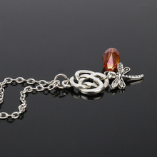 Movie Jewelry Outlander Dragonfly Necklace Crystal Hollow-out Knot Pendant&Necklace For Men Women Girl