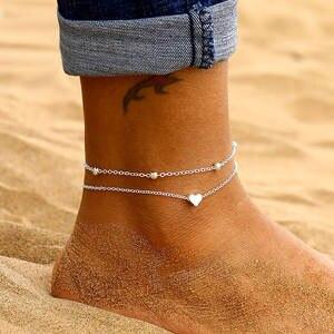 Female Anklets Sandals Leg-Jewelry Heart Women Crochet New Fashion