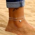 Браслеты на ногу женские, ювелирные украшения для босых ног в форме сердца, вязаные крючком сандалии, ножные браслеты